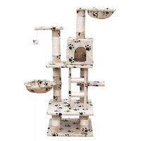Cat Scratching Post Tree in Beige Paw Print 122cm