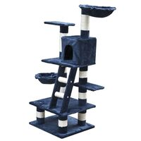 Soft Plush Cat Scratching Post Tree Dark Blue 122cm