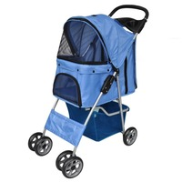 Foldable Pet Carrier Travel Stroller Pushchair Blue