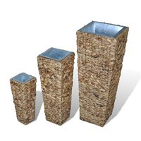 3pc Water Hyacinth Rattan Flower Vase in Natural