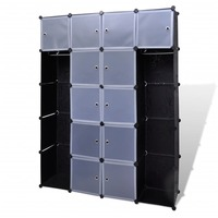 14 Compartment Modular Wardrobe Cabinet Black White