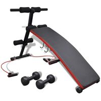 Adjustable Sit Up Weight Bench w/ Dumbbells & Ropes