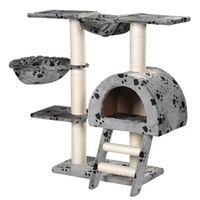 Cat Scratching Post Tree in Grey Paw Print 105cm