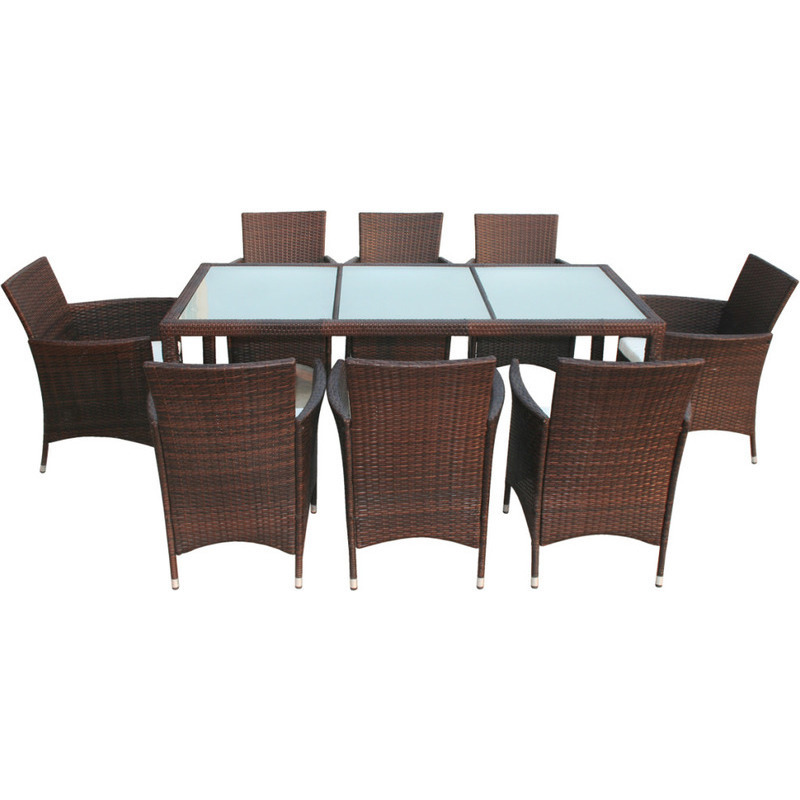 9 piece outdoor wicker dining furniture set brown buy for Outdoor furniture 9 piece