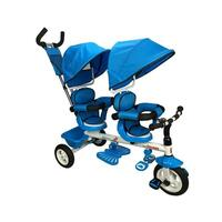 Kids 2 Seat Tandem Tricycle w/ Parent Handle Blue