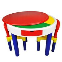 Kids Round Block Building Table with 2 Chairs Set