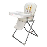 Toddler Baby High Chair in Cream w/ Fun Bear Print