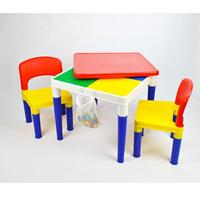Kids Square Block Building Table with 2 Chairs Set