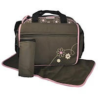 Messenger Baby Nappy Bag w/ Bottle Holder Brown