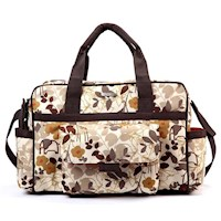 Bellotte Baby Nappy Bag Duffel with Brown Flowers
