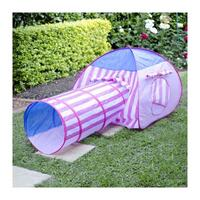 Kids Pink Stripe Pop Up Play Tent with Crawl Tunnel
