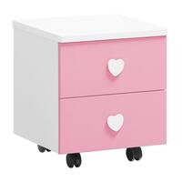 Love Heart Bedside Table w/ Wheels Pink and White