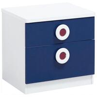 Sailor Kids Bedside Table with 2 Drawers in Blue