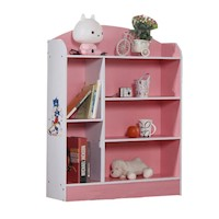 6 Shelf Kids Bookshelf in Pink and White 107cm