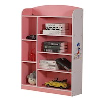 8 Shelf Kids Bookshelf in Pink and White 130cm
