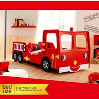 Fire Truck Engine Single Novelty Kids Bed in Red