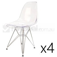4x Replica Eames DSR Dining Chair in Clear & Chrome