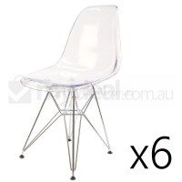 6x Replica Eames DSR Dining Chair in Clear & Chrome