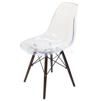 Replica Eames DSW Dining Chair in Clear & Walnut