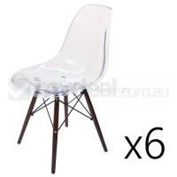 6x Replica Eames DSW Dining Chair in Clear & Walnut