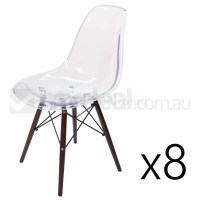 8x Replica Eames DSW Dining Chair in Clear & Walnut