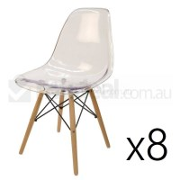 8x Replica Eames DSW Dining Chair - Clear & Natural