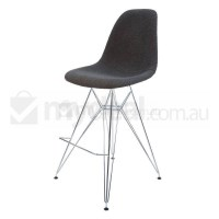 Eames Inspired DSR Bar Stool in Charcoal and Chrome