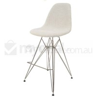 Eames Inspired DSR Bar Stool in Ivory and Chrome