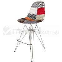 Eames Inspired DSR Bar Stool in Patches and Chrome