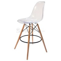Eames Inspired DSW Bar Stool in Clear and Natural