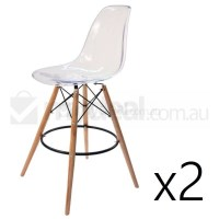 2x Eames Inspired DSW Bar Stool in Clear & Natural