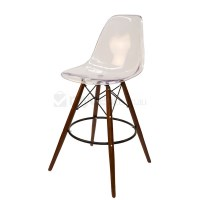 Eames Inspired DSW Bar Stool in Clear and Walnut
