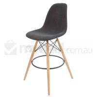 Eames Inspired DSW Bar Stool in Charcoal & Natural