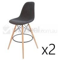 2x Eames Inspired DSW Bar Stools Charcoal Natural