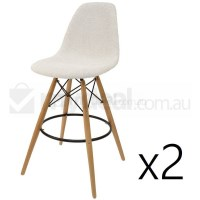 2x Eames Inspired DSW Bar Stool in Ivory & Natural