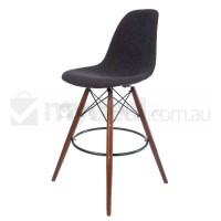 Eames Inspired DSW Bar Stool in Charcoal and Walnut