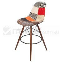 Eames Inspired DSW Bar Stool in Patches and Walnut