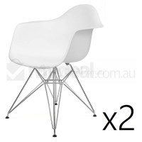 2x Replica Eames DAR Dining Chair in White & Chrome