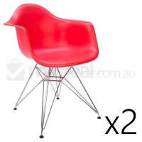 2x Replica Eames DAR Dining Chairs in Red & Chrome