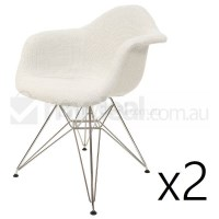 2x Replica Eames DAR Dining Chair in Ivory & Chrome