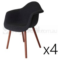 4x Replica Eames DAW Hal Chair - Charcoal & Walnut