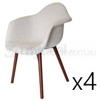 4x Replica Eames DAW Hal Chair in Ivory and Walnut