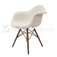 Replica Eames DAW Dining Chair in Ivory and Walnut
