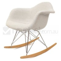 Replica Eames RAR Rocking Chair in Ivory Fabric