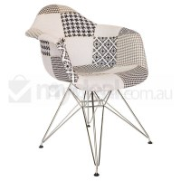 Replica Eames DAR Dining Chair in Patches & Chrome