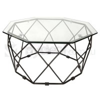 Small Hexagon Clear Glass Coffee Table in Black