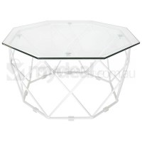 Small Hexagon Clear Glass Coffee Table in White