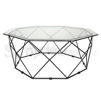 Large Hexagon Clear Glass Coffee Table in Black