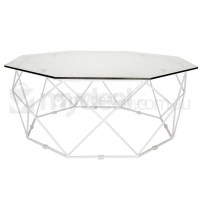 Large Hexagon Clear Glass Coffee Table in White