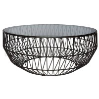 Modern Bend Wire Clear Glass Coffee Table in Black